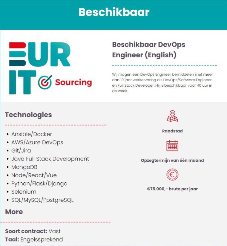 Beschikbaar DevOps Engineer (English)