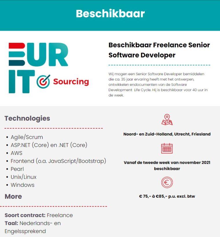 Beschikbaar Freelance Senior Software Developer