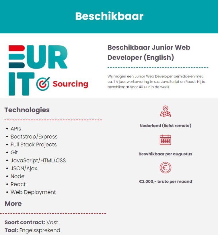 Beschikbaar Junior Web Developer (English)