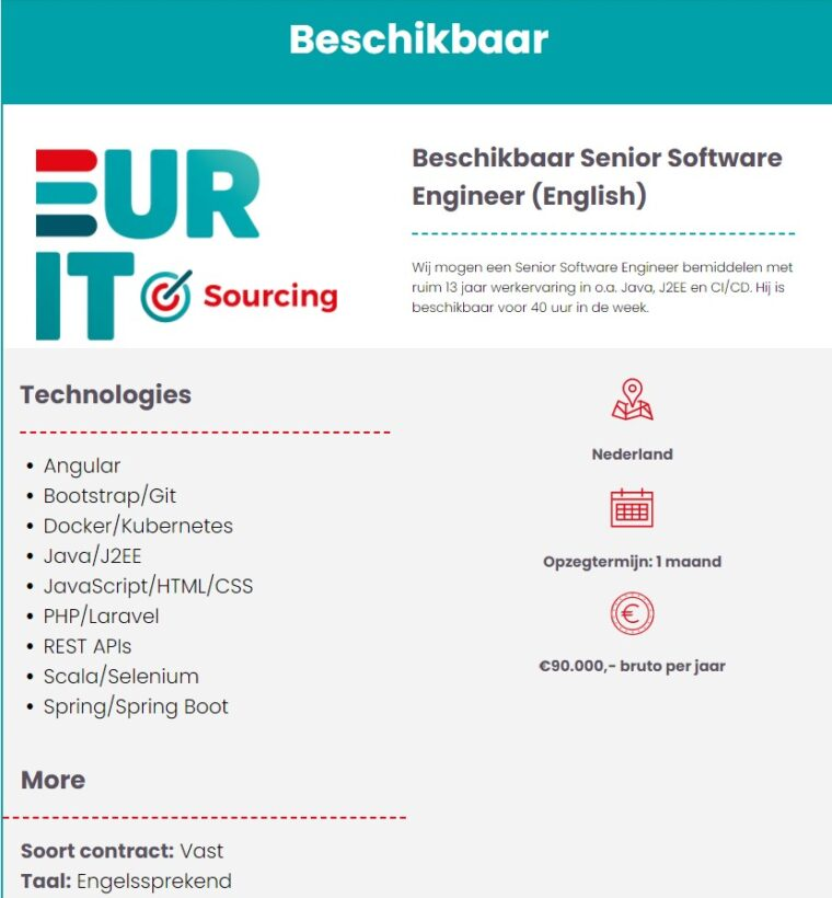 Beschikbaar Senior Software Engineer (English)