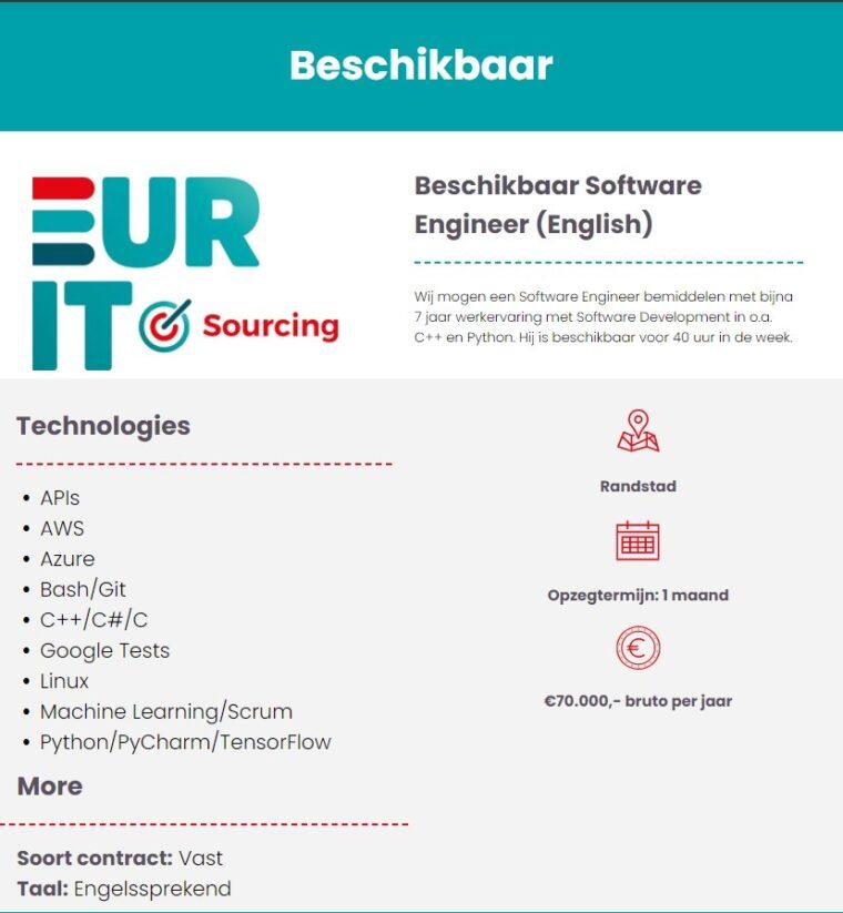 Beschikbaar Software Engineer (English)